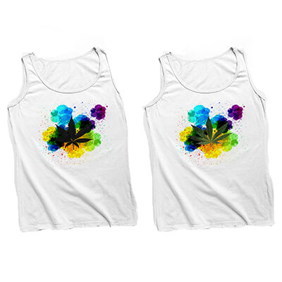 Paint Splatter Pot Leaf Tank Top