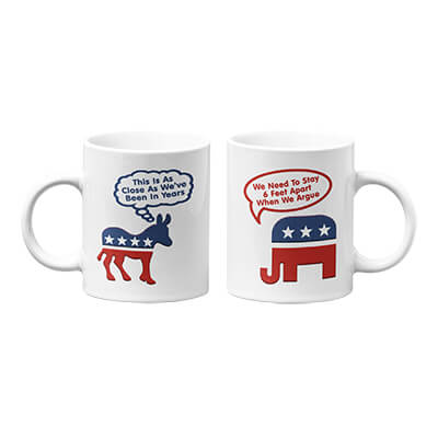 Donkey and Elephant 6 Feet Apart Mug