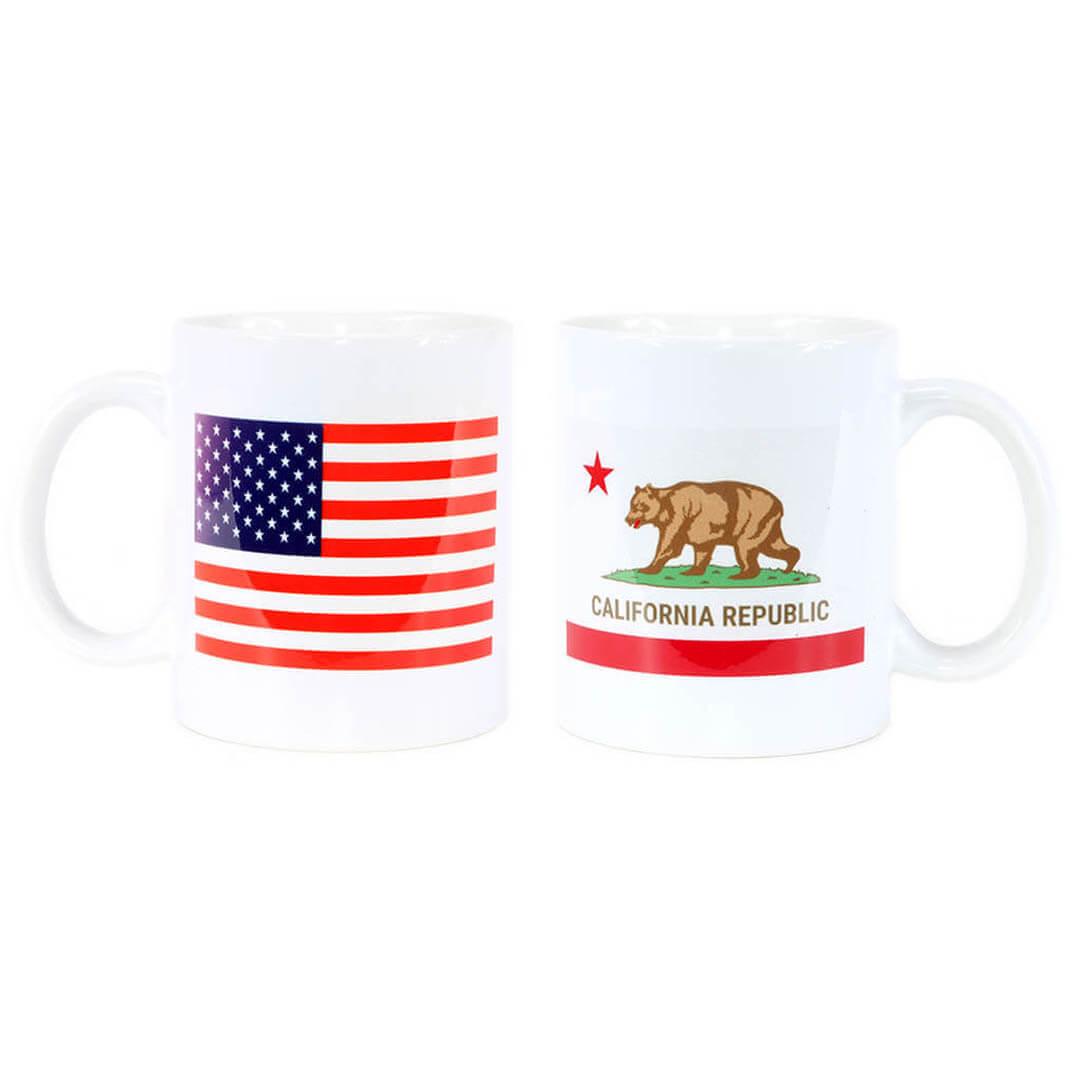 California State & USA Flag Mug