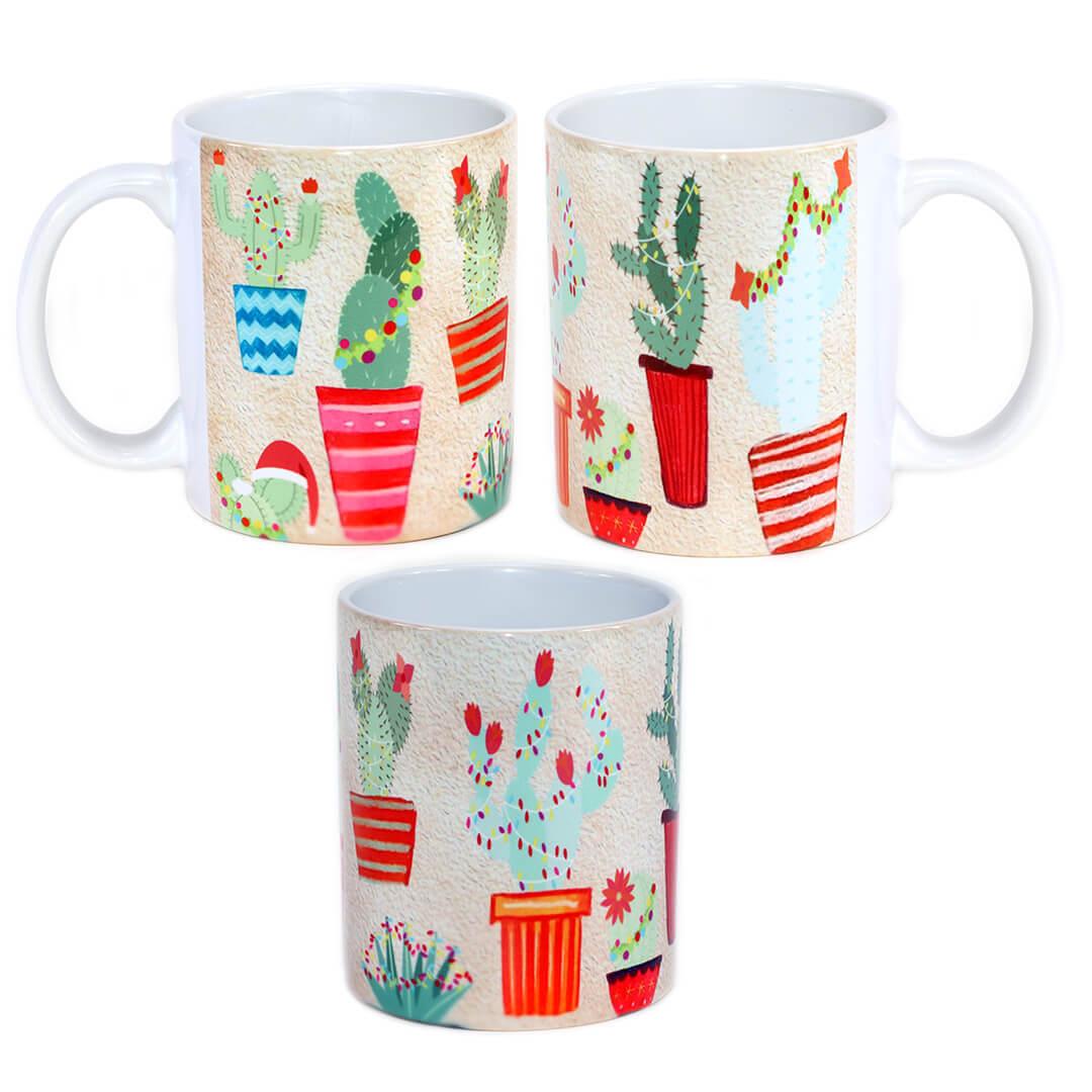 Christmas Lights Cactus Mug