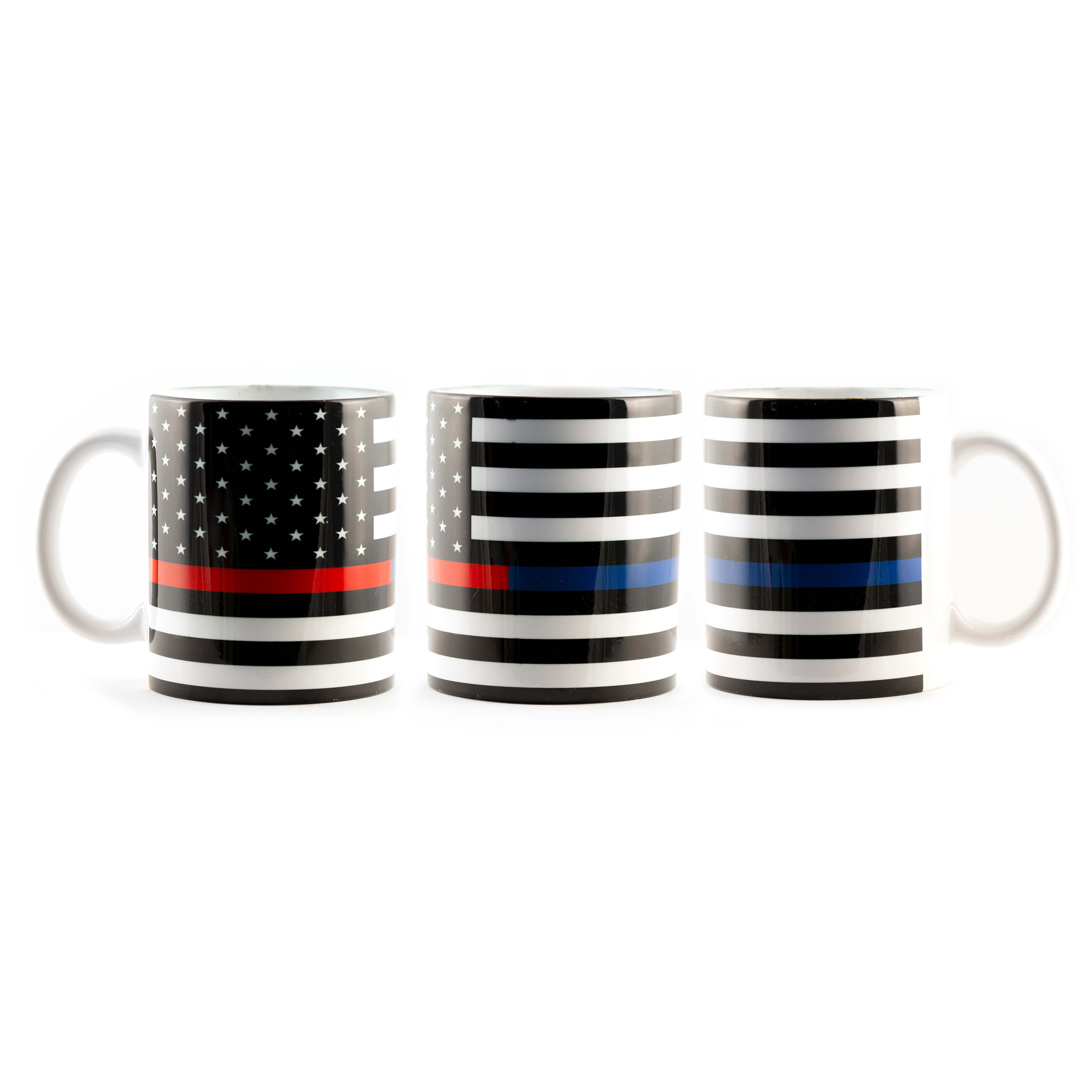Support Police - Fire Blue and Red Line Flag Mug