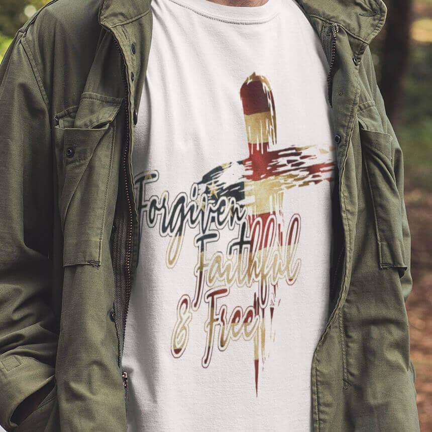 Forgiven, Faithful & Free - USA Flag T-Shirt