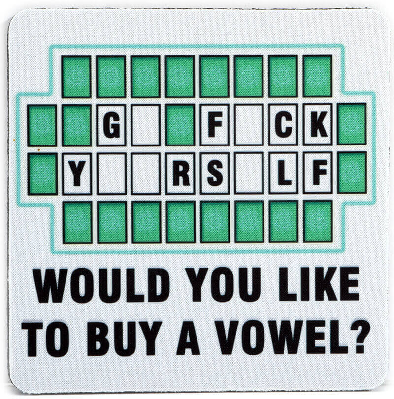 Would You Like to Buy a Vowel Coaster | Cool Coaster