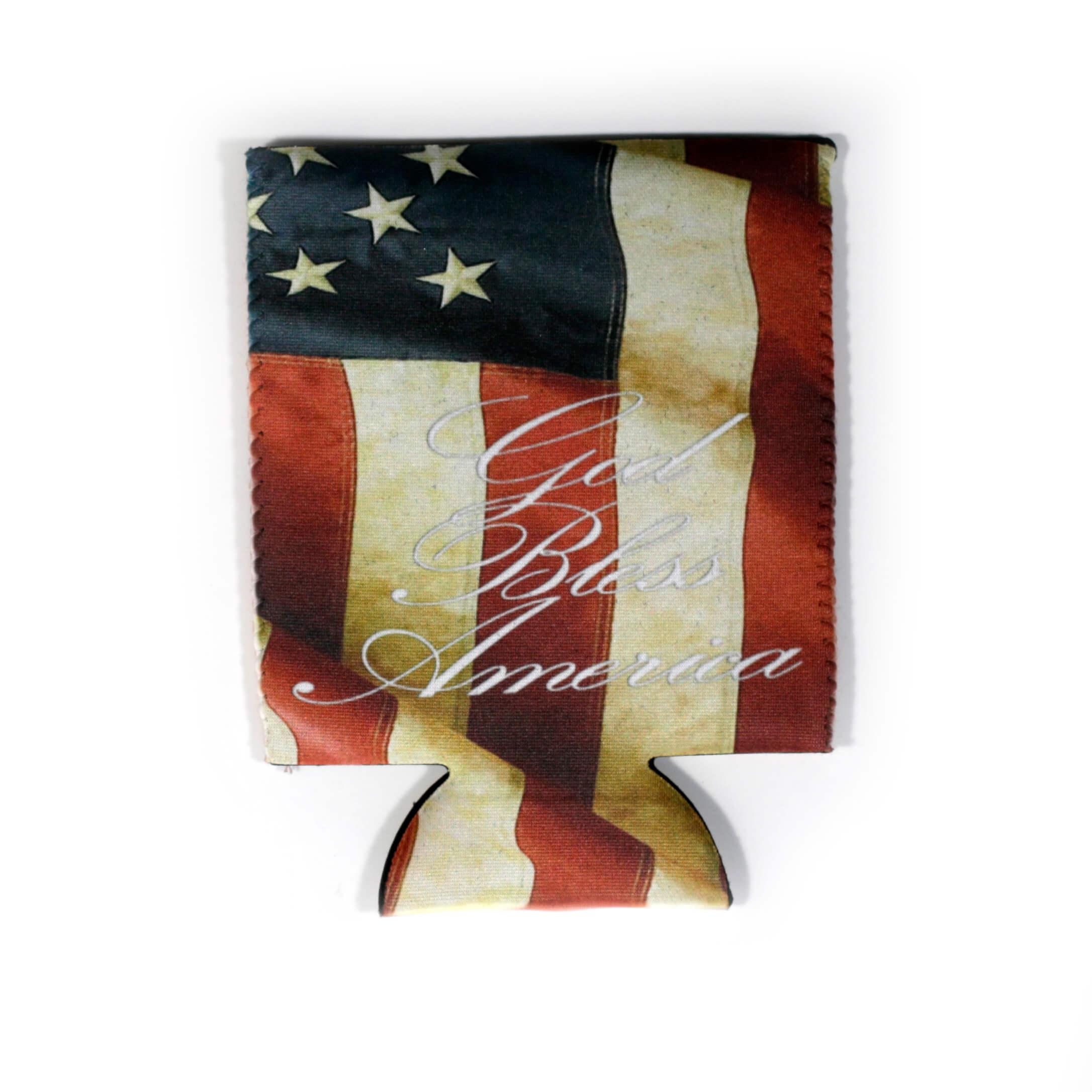 God Bless America USA Flag Koozie