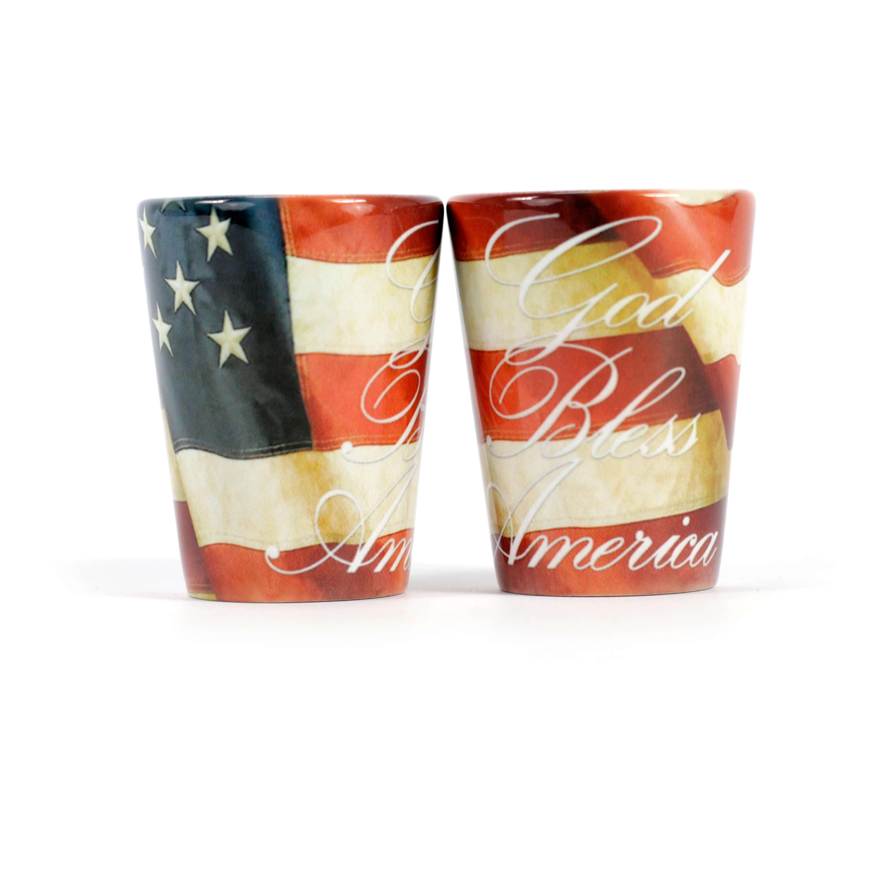 God Bless America USA Flag Shot Glass