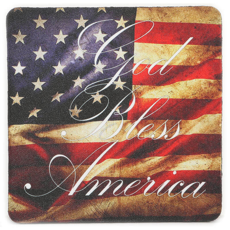God Bless America USA Flag Coaster