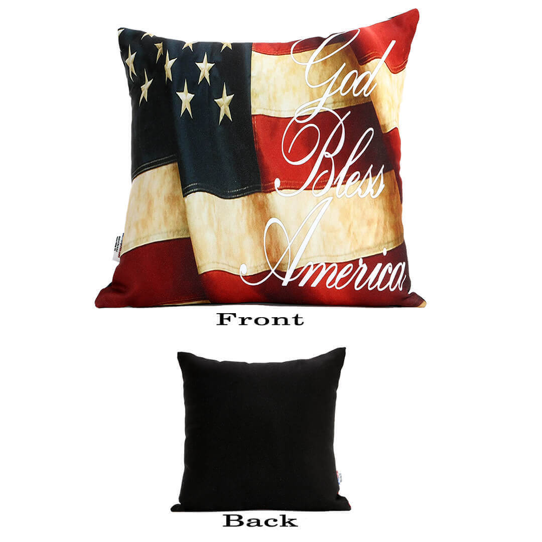 God Bless America USA Flag 14in Throw Pillow