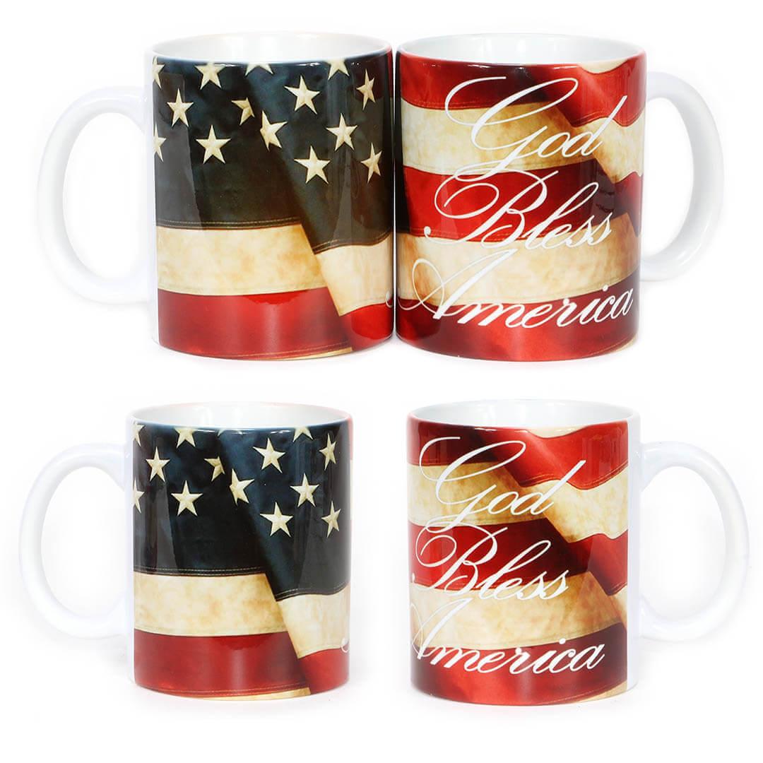 God Bless America USA Flag Mug