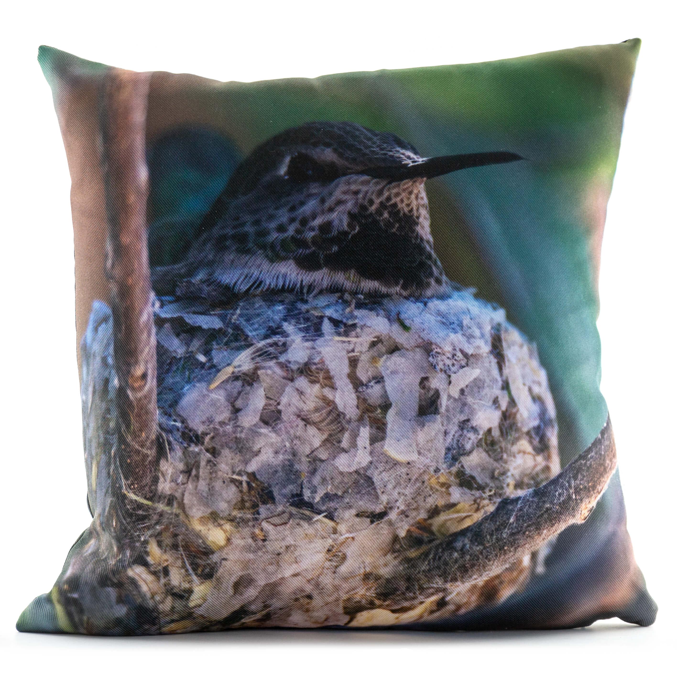 Hummingbird On A Nest 14in Throw Pillow