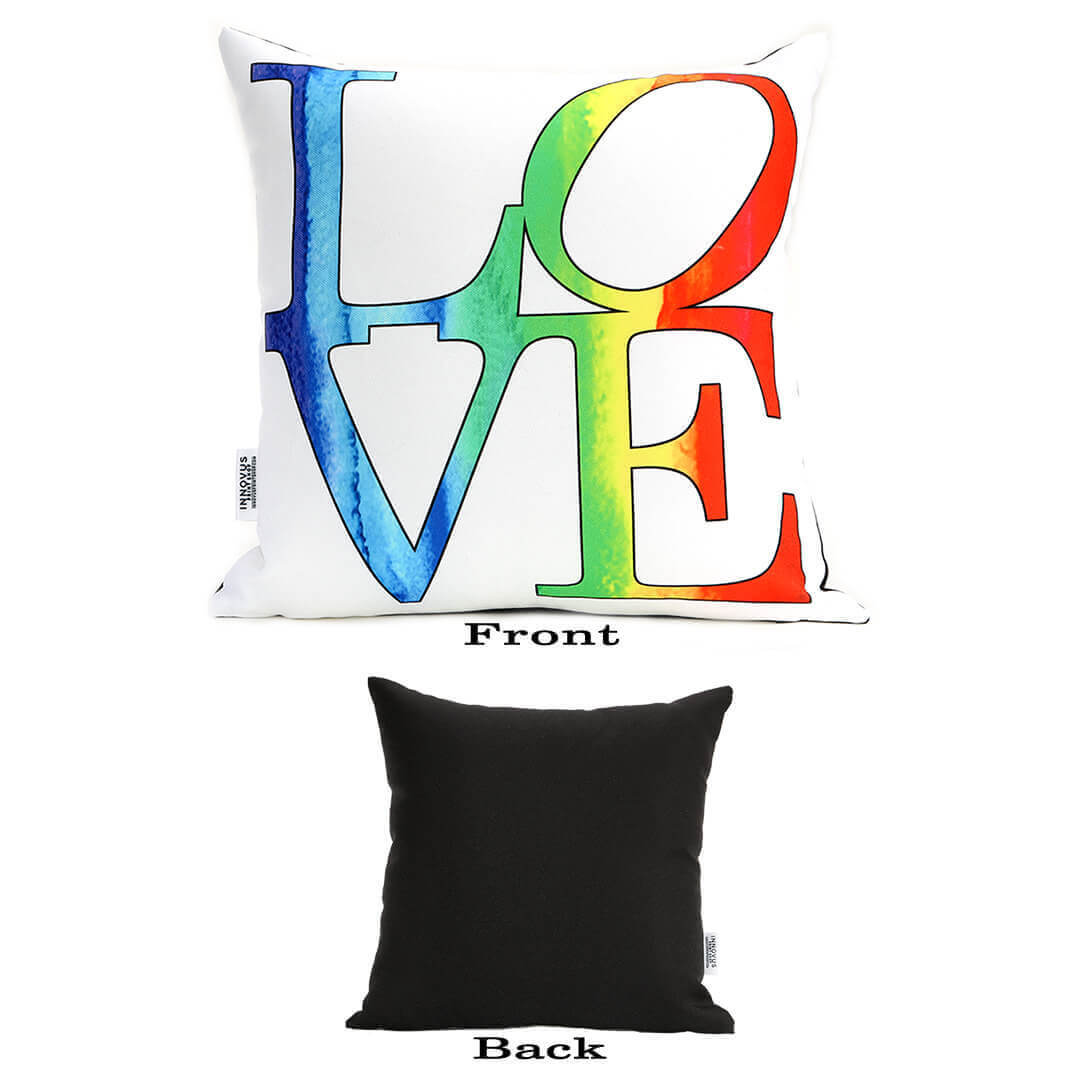 Love Rainbow 14in Throw Pillow