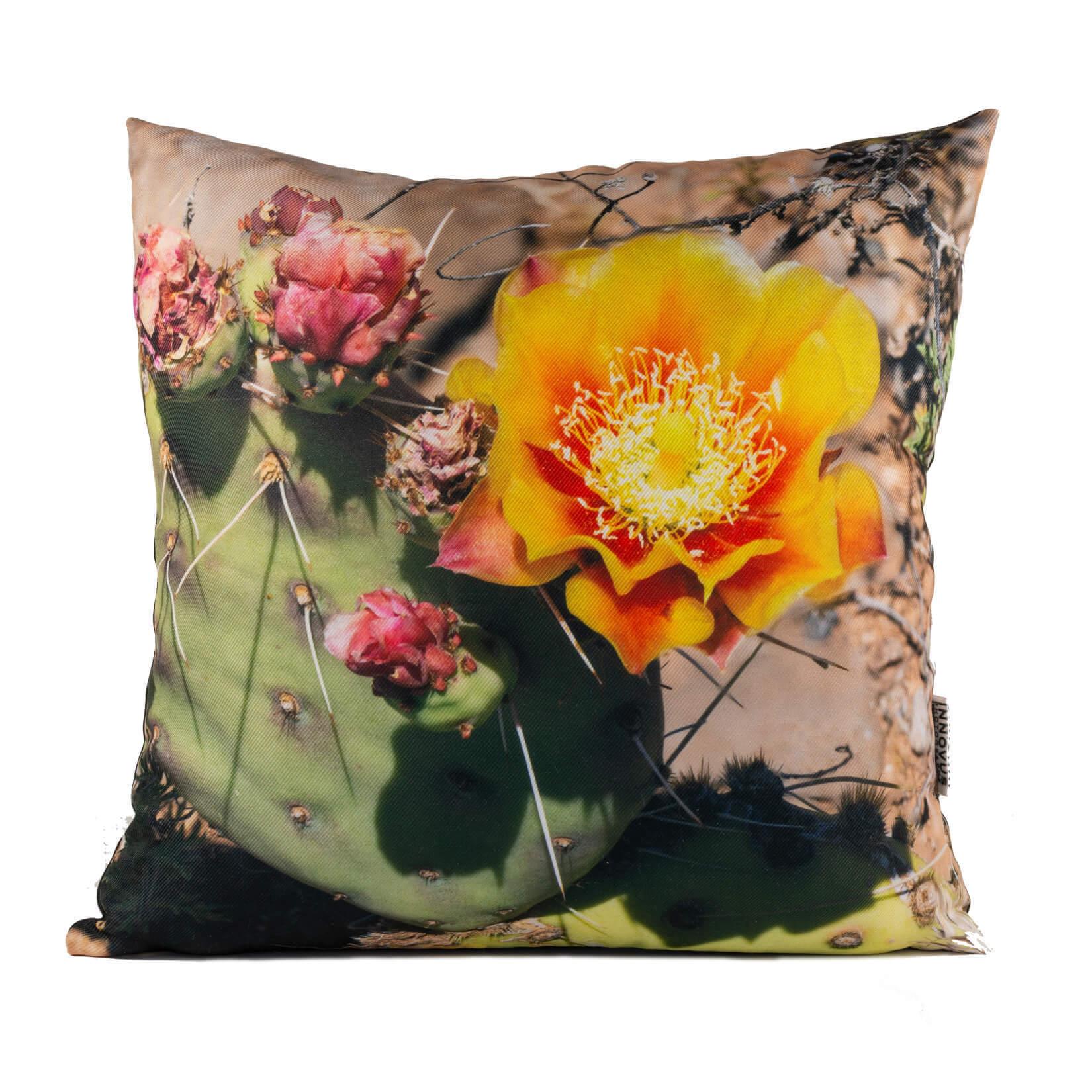 Orange Cactus Flower Throw Pillow Set
