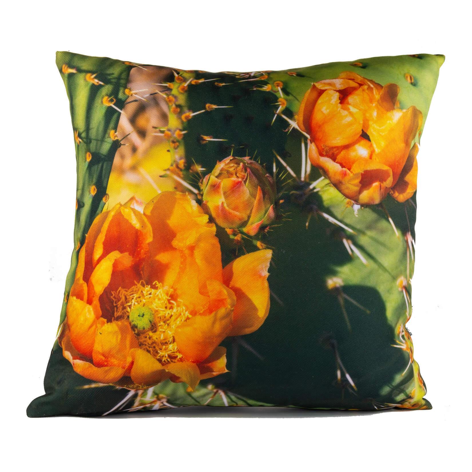 Orange Cactus Flower 14in Throw Pillow