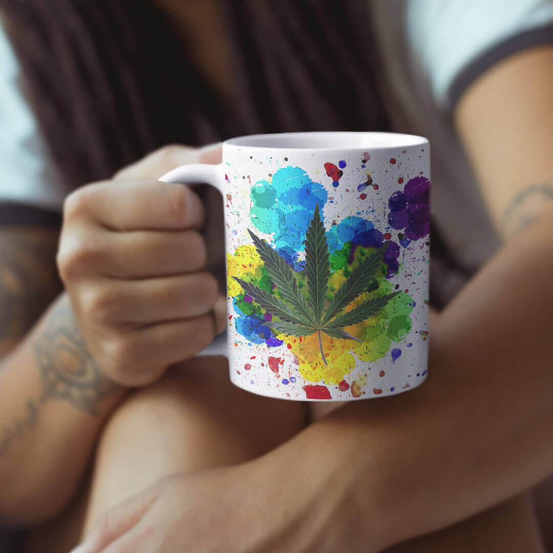 Paint Splatter Marijuana Leaf Mug