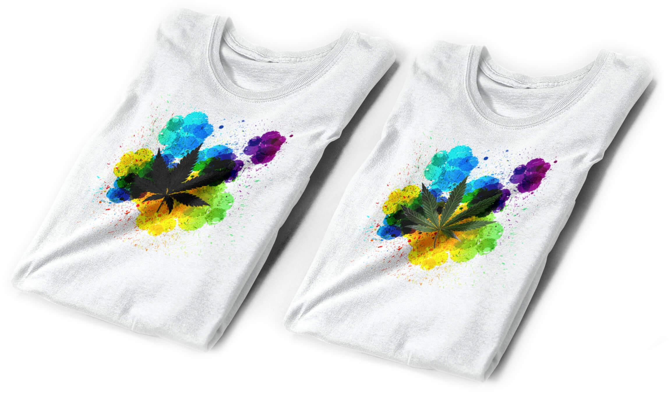 Paint Splatter Pot Leaf T-Shirt