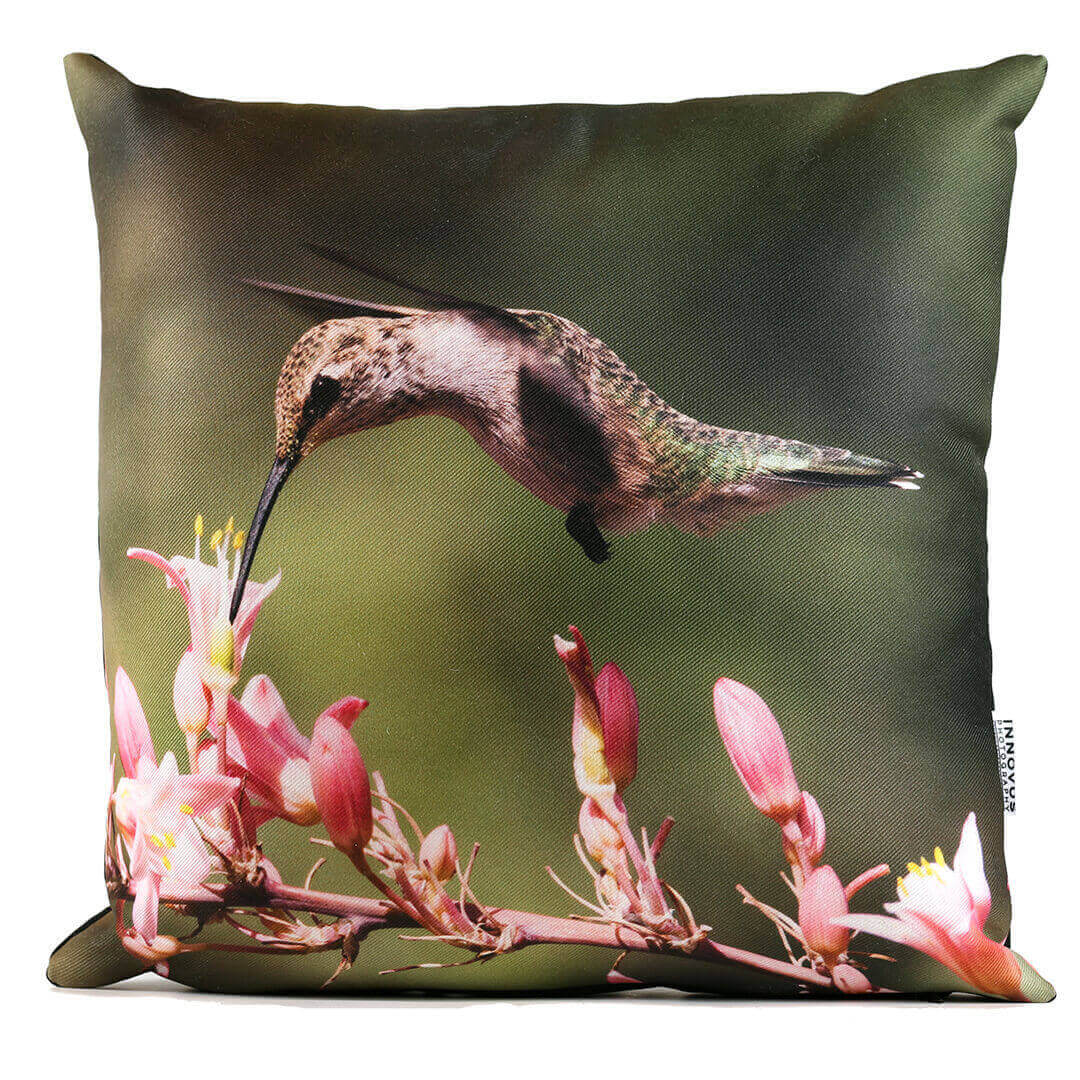 Pink Flower Hummingbird 14in Throw Pillow