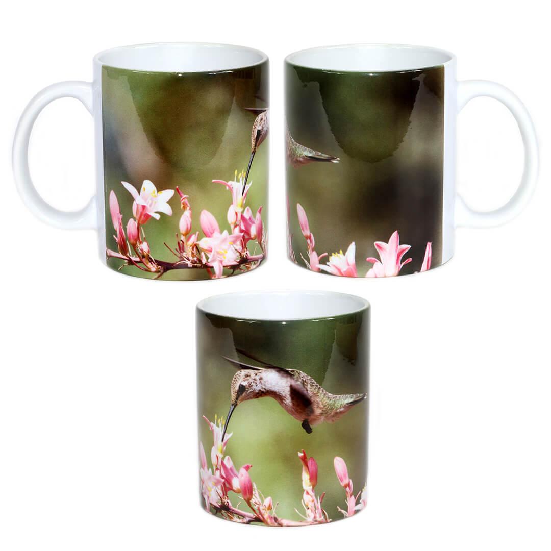 Pink Flower Hummingbird Mug