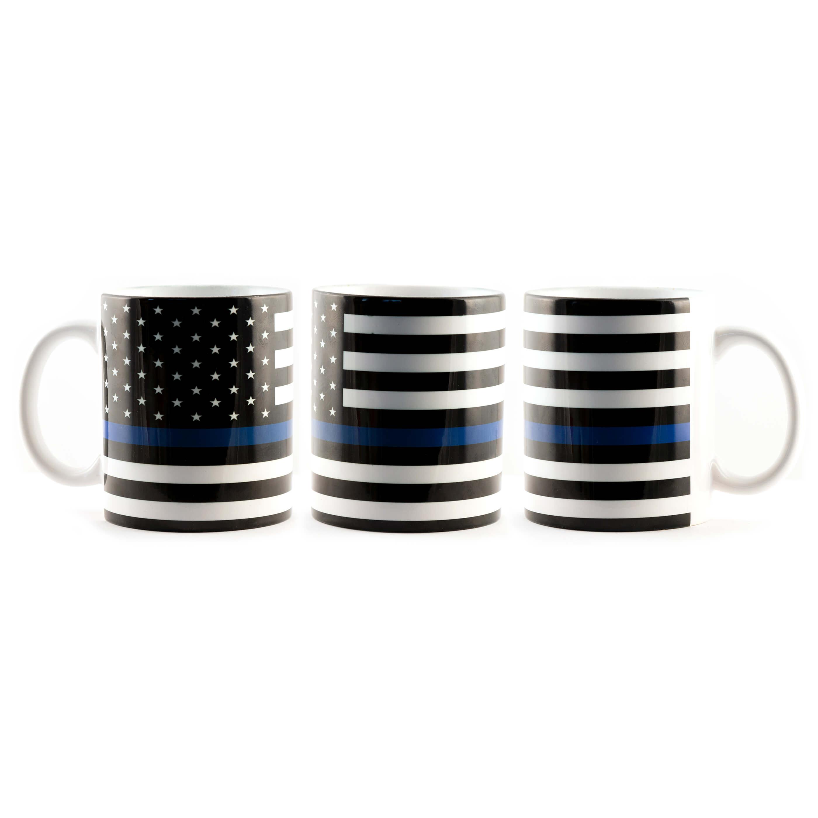 Support Police Blue Line Flag Mug
