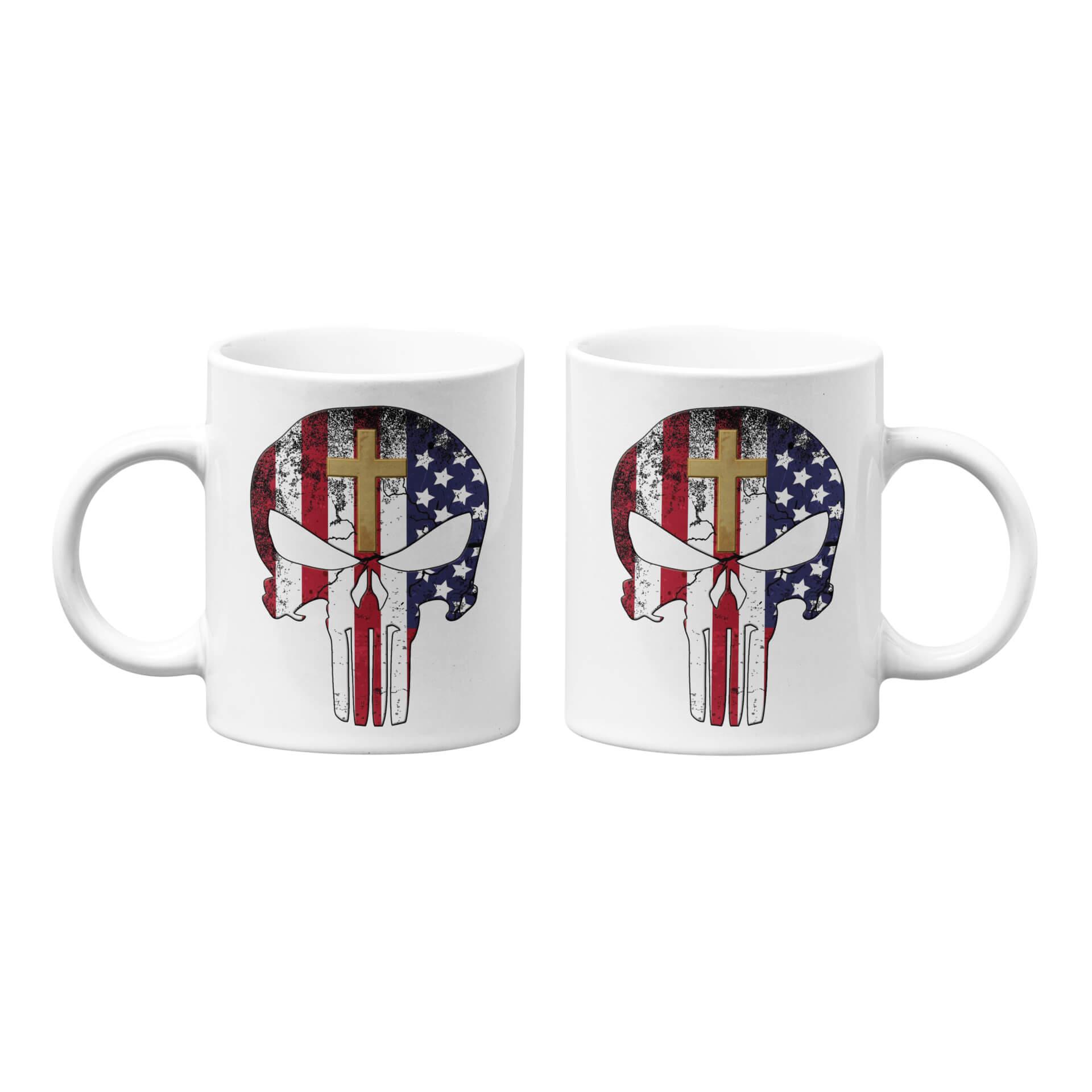 USA Flag Punisher with Gold Cross Mug