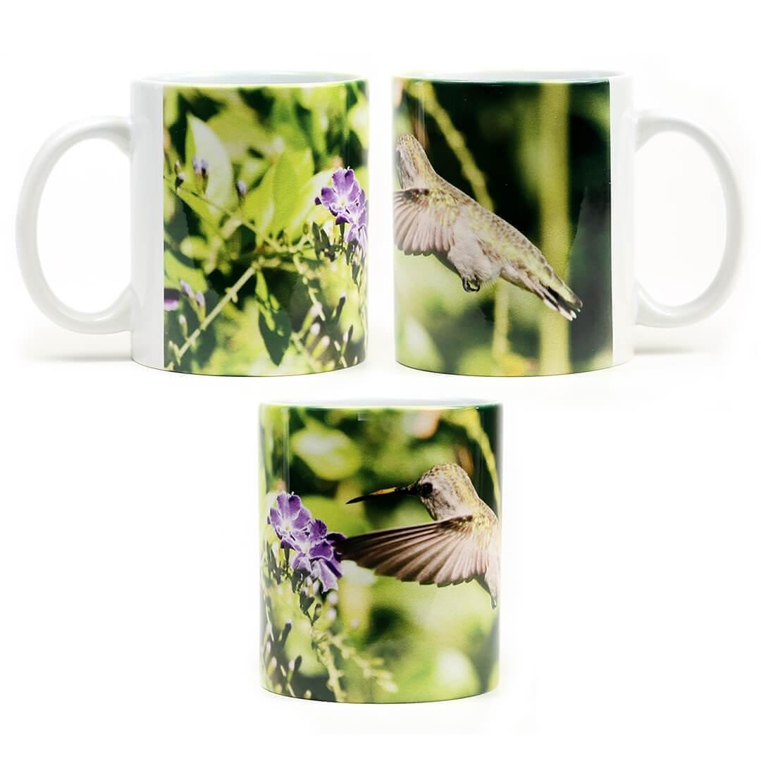 Purple Flower Humming Bird Mug
