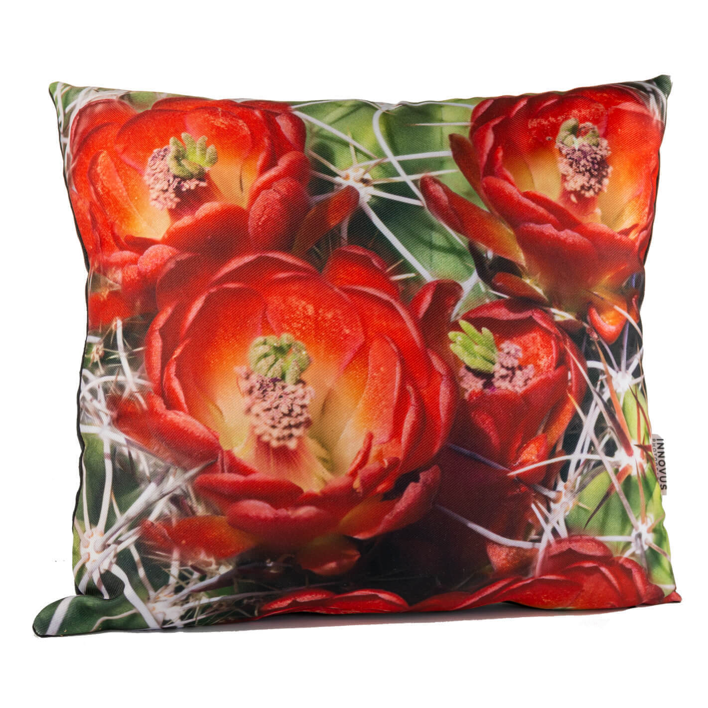 Red Cactus Flower 14in Throw Pillow