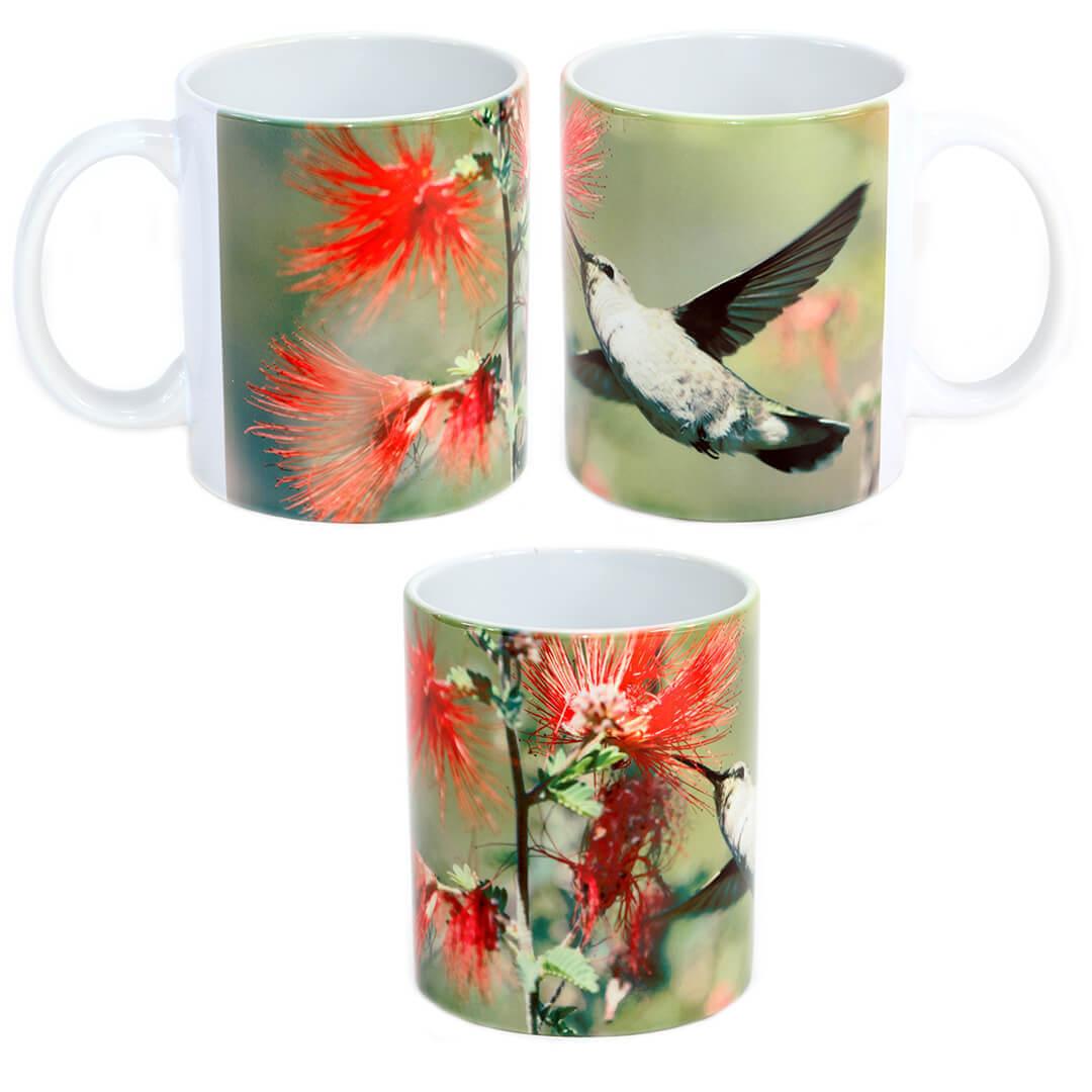 Red Flower Humming Bird Mug