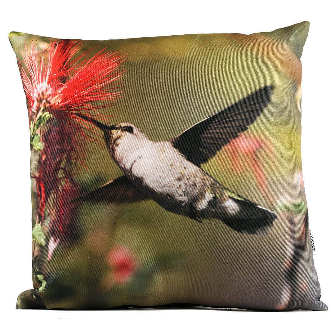 Red Flower Hummingbird 14in Throw Pillow