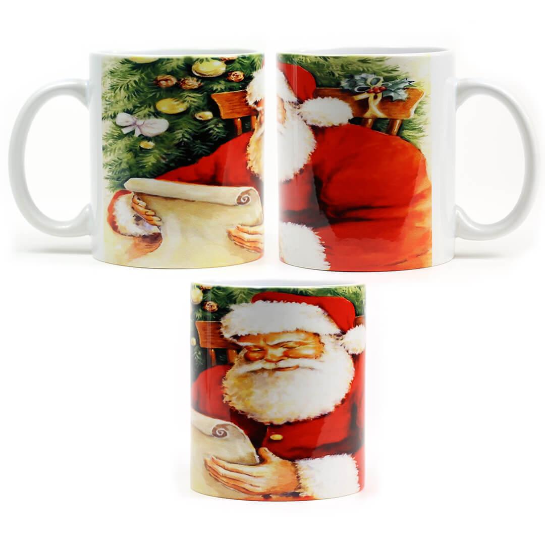 Retro Santa Reading His List Mug