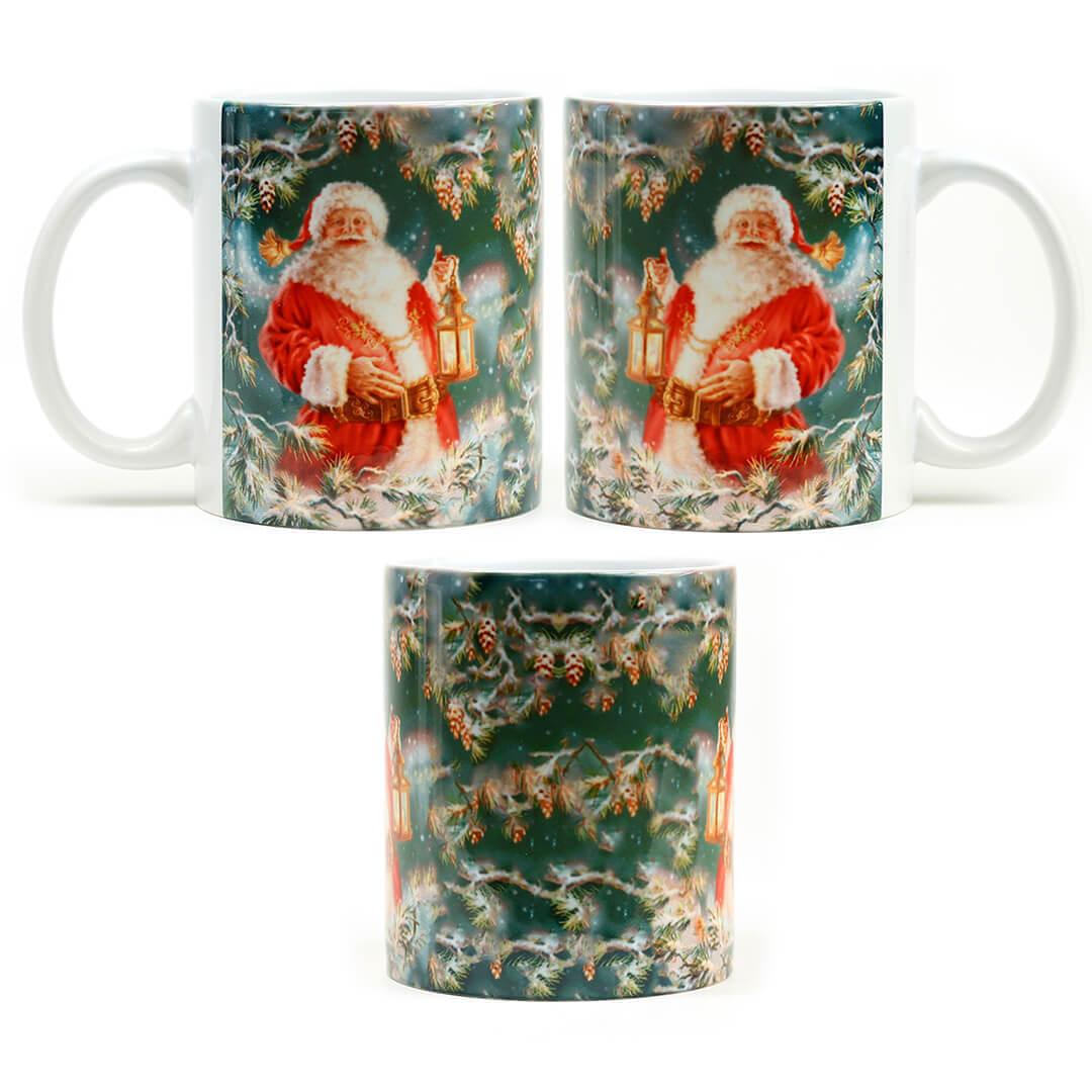 Retro Santa Holding Lantern Mug