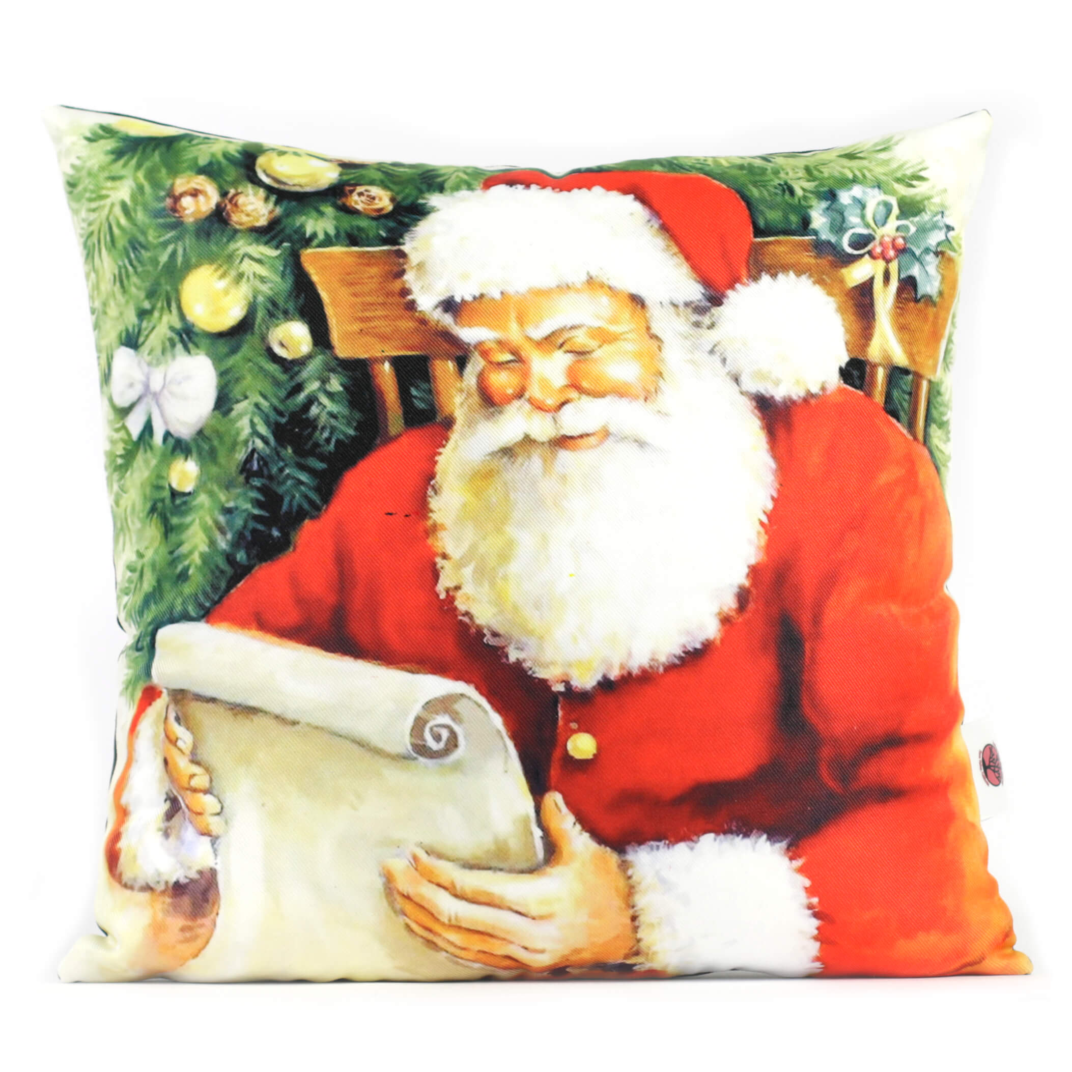 Santa Reading His List 14in Throw Pillow