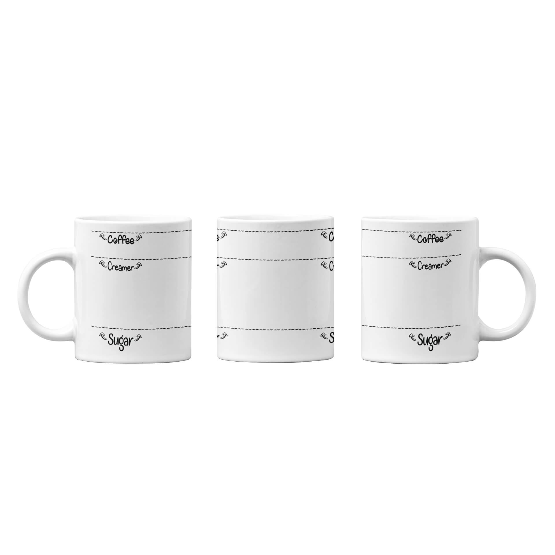 Sugar, Creamer, Coffee Fill Line Mug