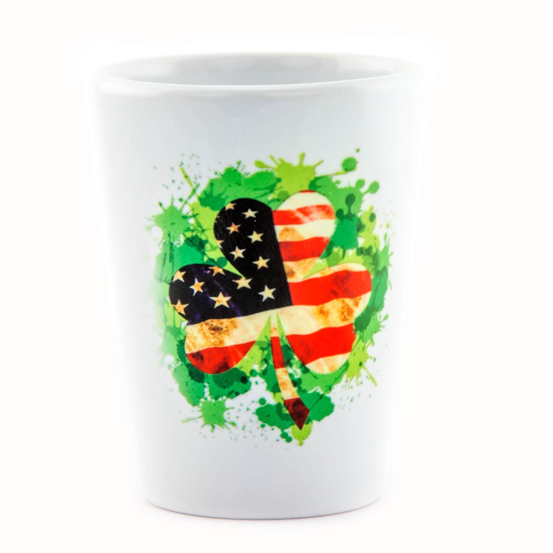 USA Flag Clover Shot Glass