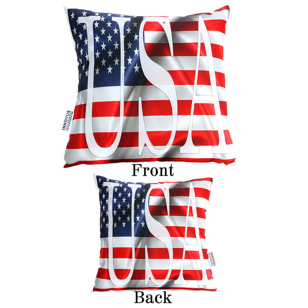 USA Flag 14in Throw Pillow