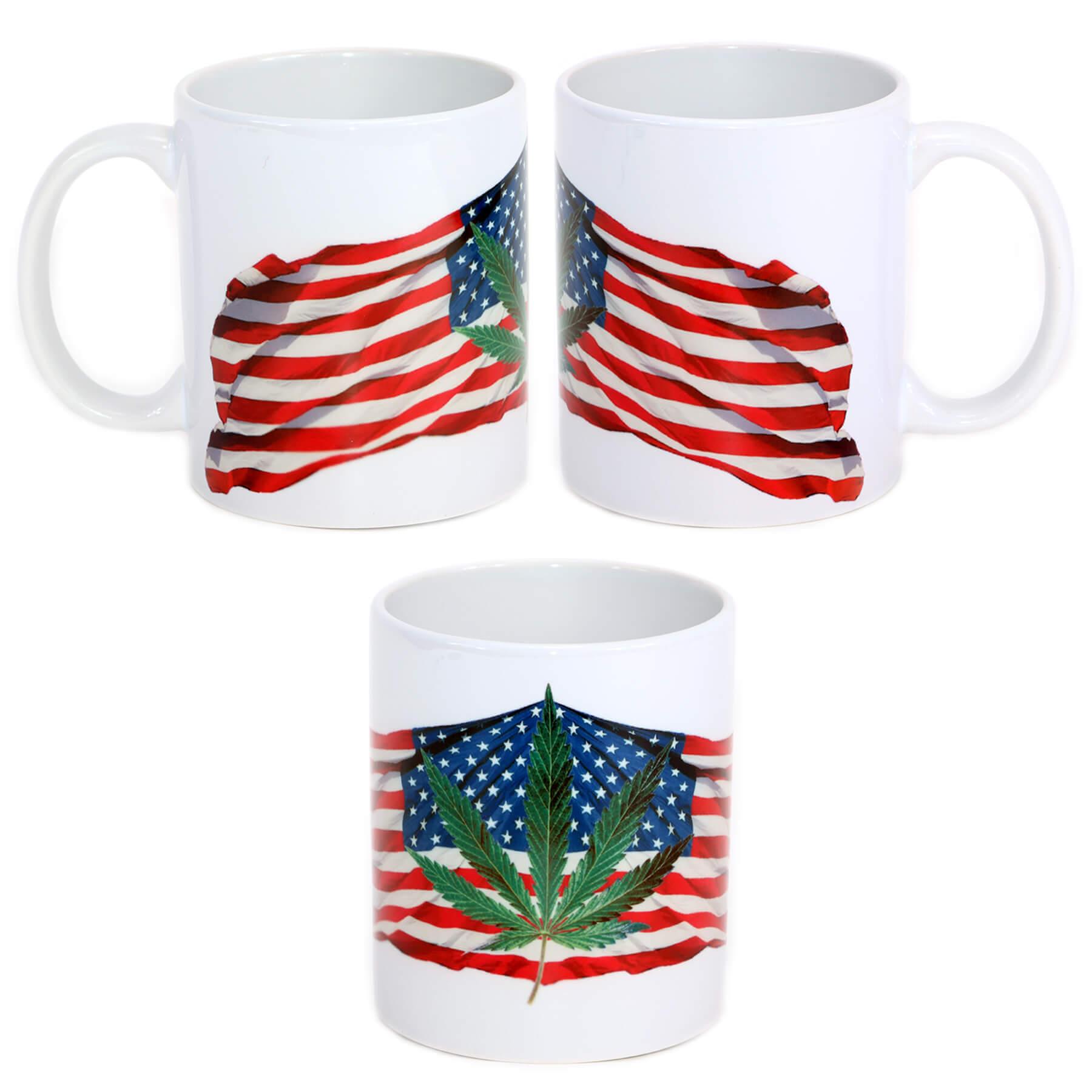 Pot Leaf - USA Flag Mug