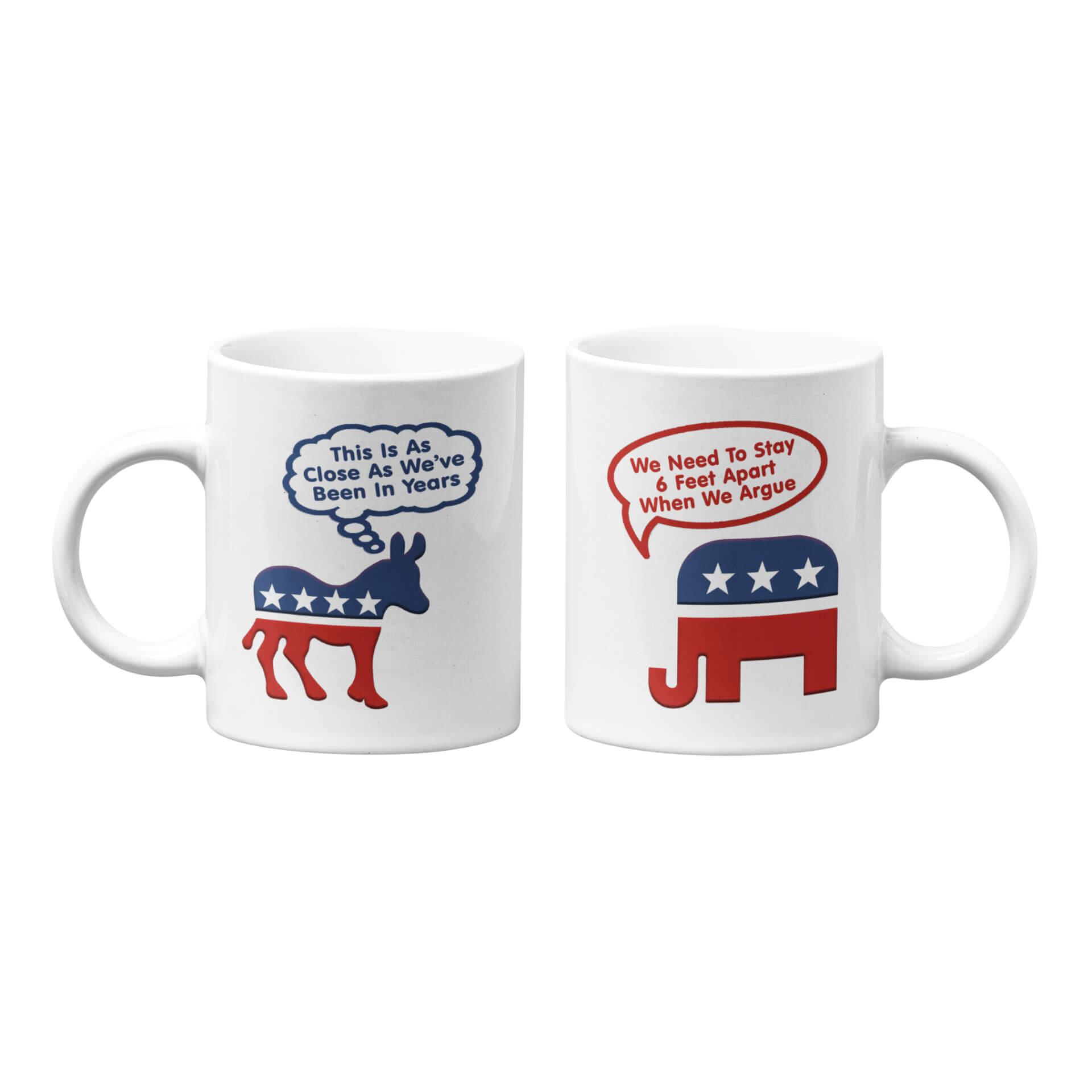 Donkey and Elephant 6 Feet Apart Mug