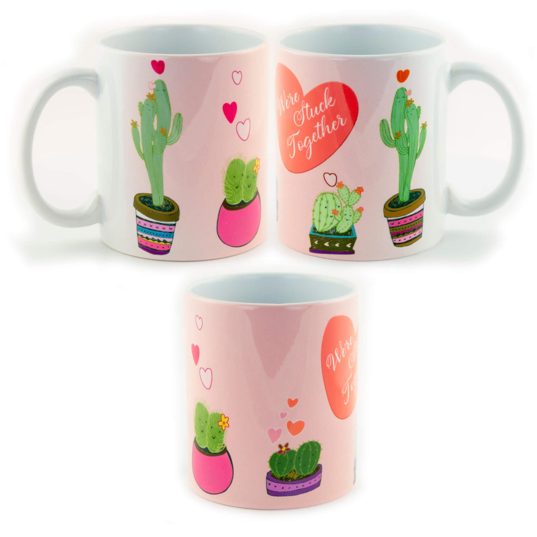 We're Stuck Together Valentine's Cactus Mug