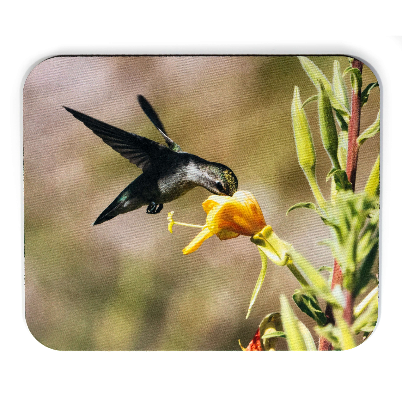 Yellow Flower Hummingbird Mousepad