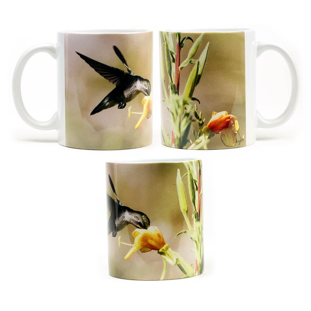 Yellow Flower Humming Bird Mug