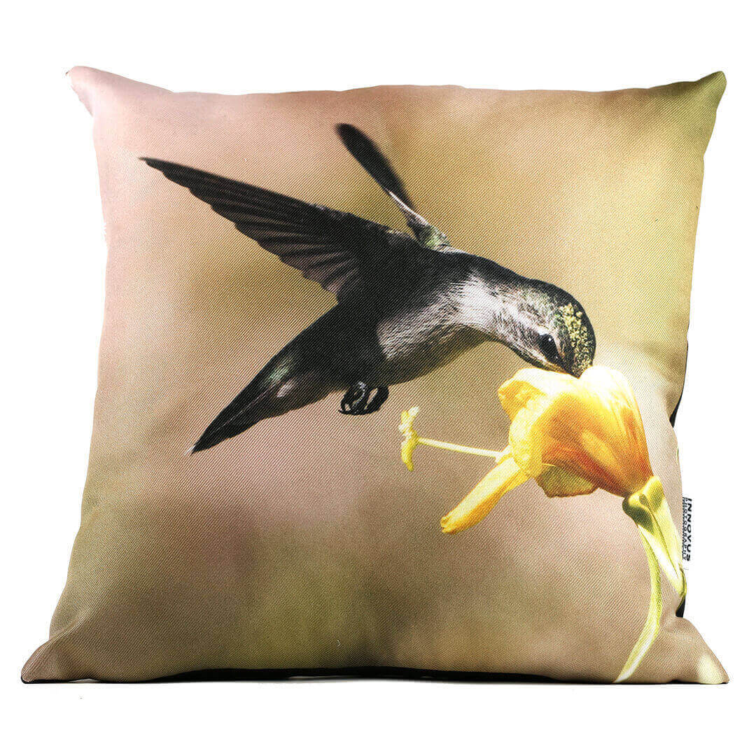 Yellow Flower Hummingbird 14in Throw Pillow